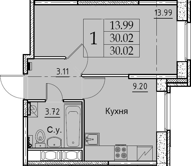 1-комнатная, 30.02 м²– 2