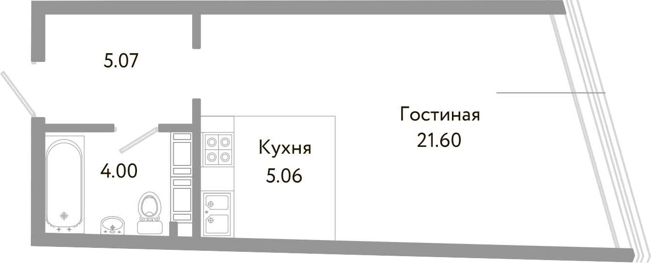 Студия, 35.73 м², 10 этаж