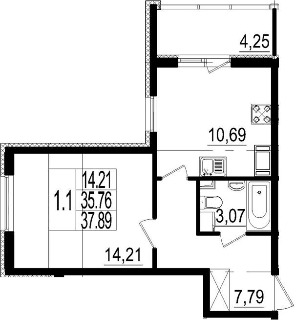 1-комнатная, 35.76 м²– 2