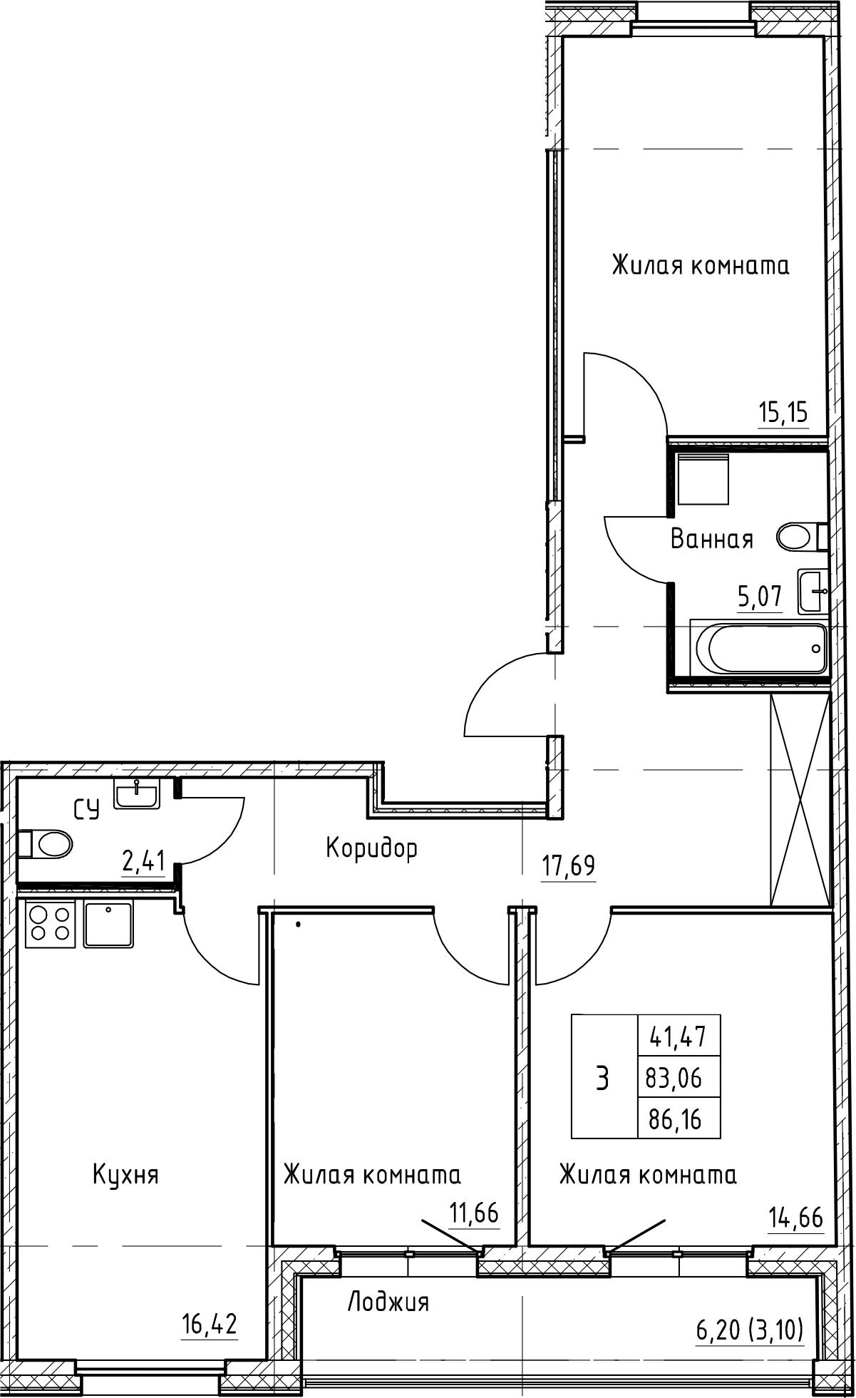 4Е-к.кв, 86.16 м²