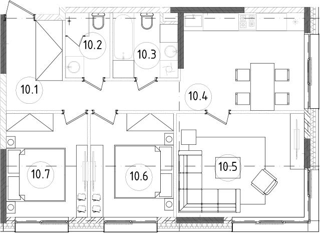 3-к.кв, 65.85 м², от 6 этажа