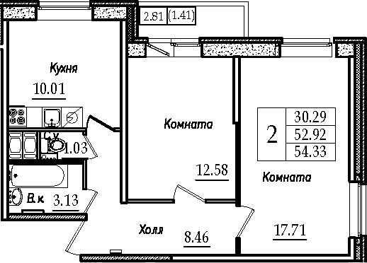 2-к.кв, 54.33 м²