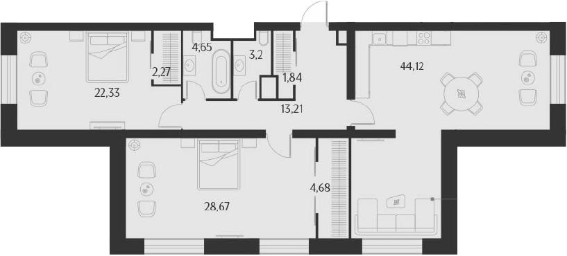 3-к.кв (евро), 124.97 м²