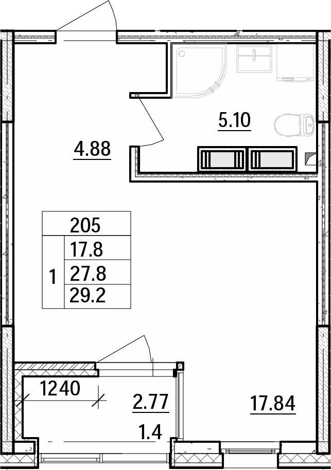 Студия, 29.22 м²– 2