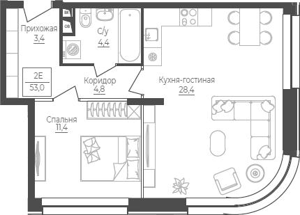 2Е-комнатная, 53 м²– 2