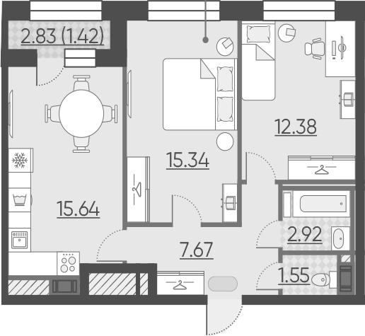 3-к.кв (евро), 58.34 м²