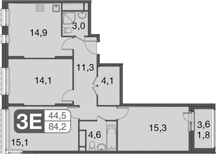 4-к.кв (евро), 86 м²