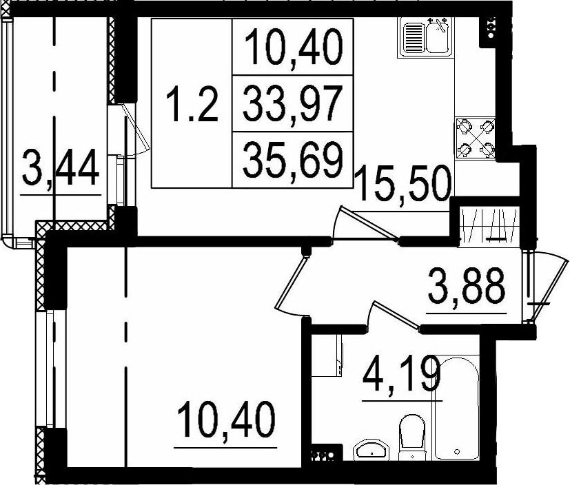 2Е-комнатная, 33.97 м²– 2