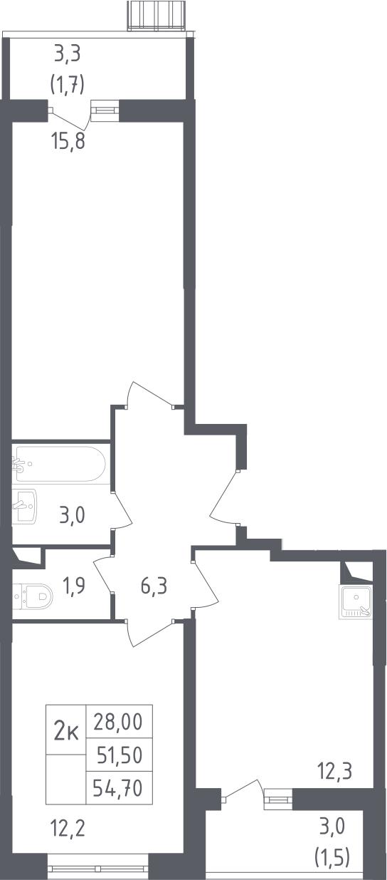 2-комнатная, 54.7 м²– 2