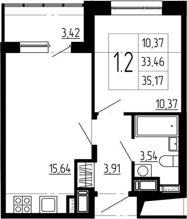 1-к.кв, 36.88 м²