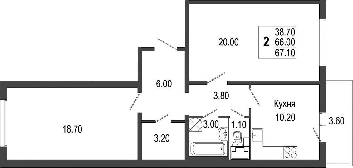 2-к.кв, 69.62 м²