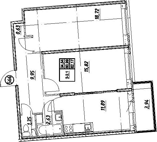2-комнатная, 62.17 м²– 2