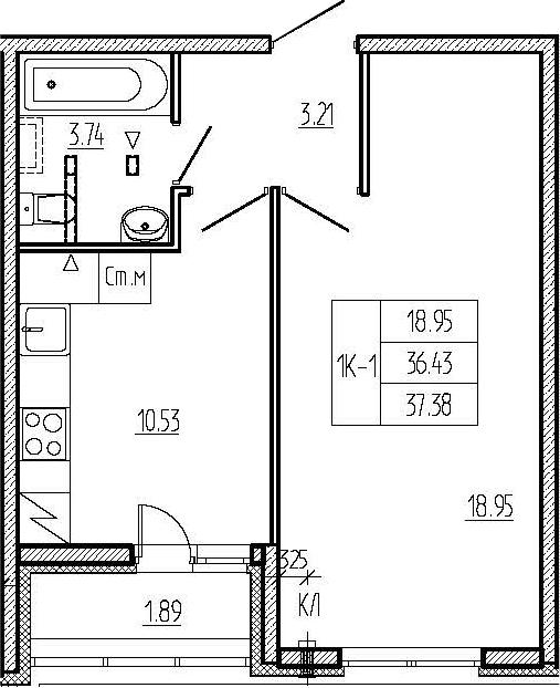 1-к.кв, 38.32 м²