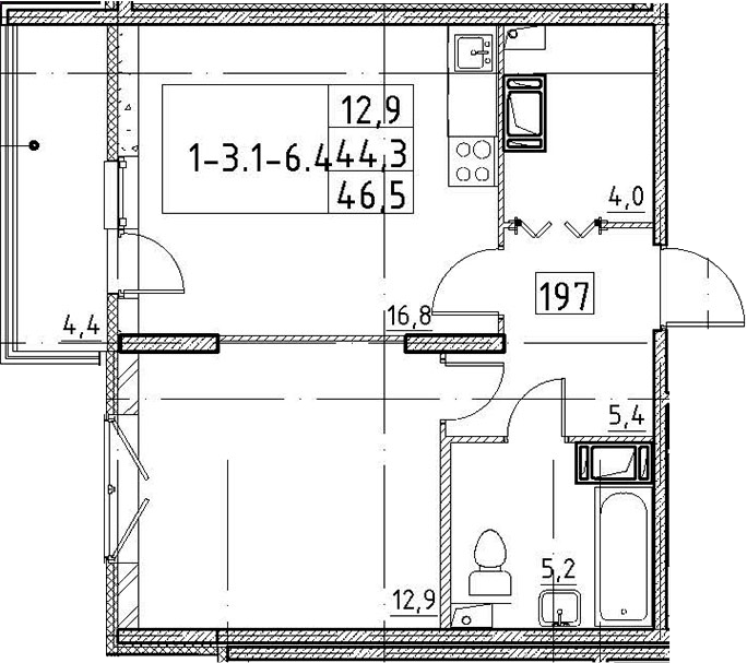 2Е-комнатная квартира, 46.5 м², 3 этаж – Планировка