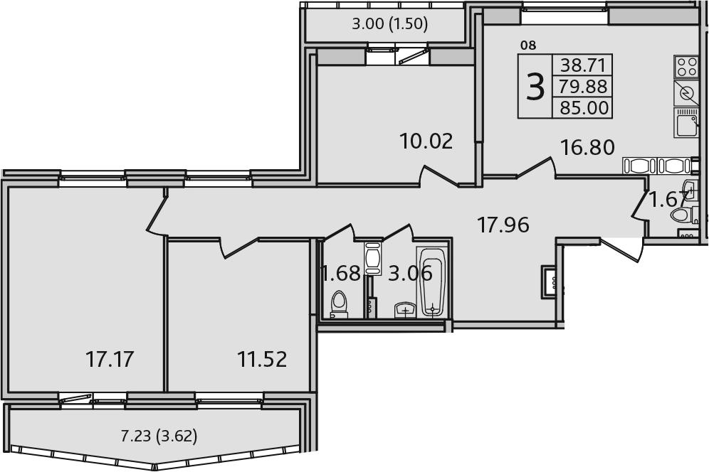 4Е-к.кв, 85 м², 5 этаж