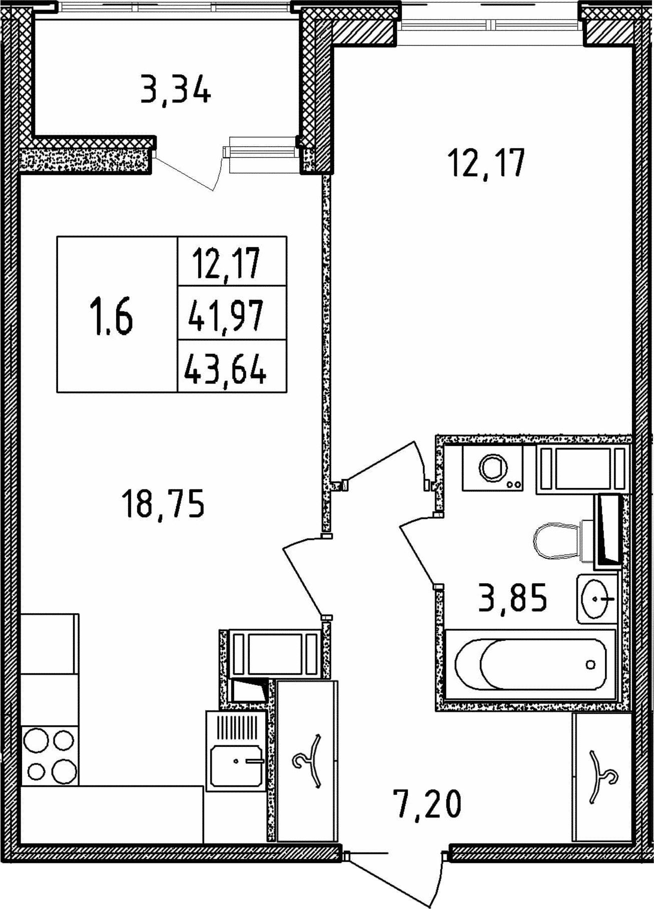 2Е-к.кв, 41.97 м², от 18 этажа