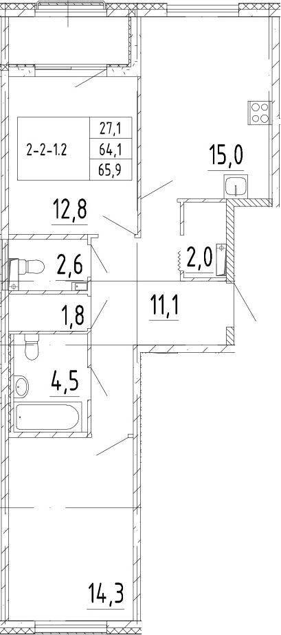 3Е-комнатная, 65.9 м²– 2