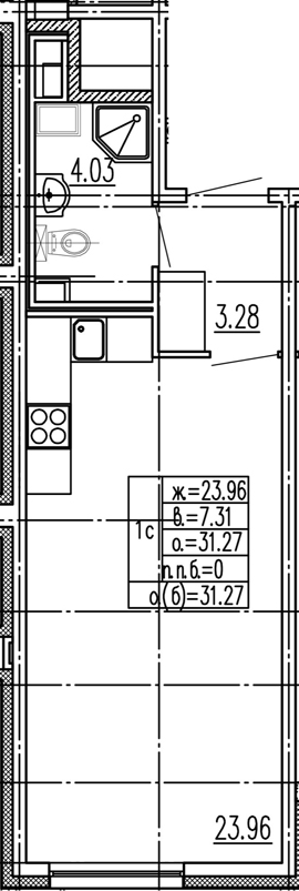 Студия, 31.27 м²