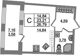 Студия, 23.21 м², от 18 этажа
