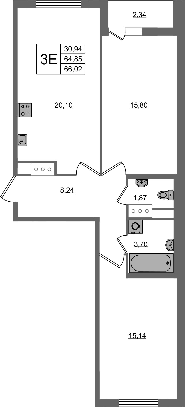 3Е-к.кв, 64.85 м², от 2 этажа
