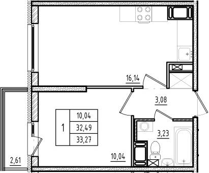2Е-комнатная, 32.49 м²– 2