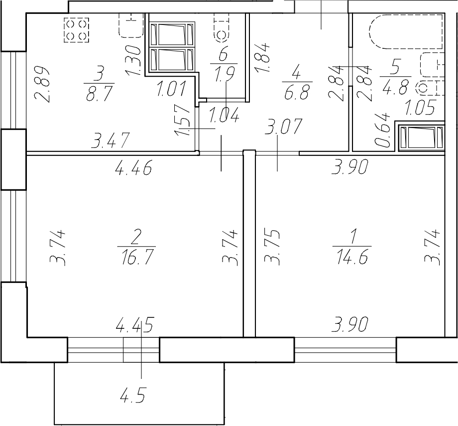 2-к.кв, 53.5 м²