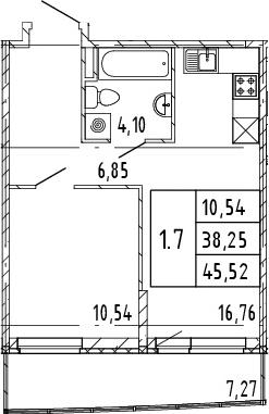 2Е-комнатная, 38.25 м²– 2