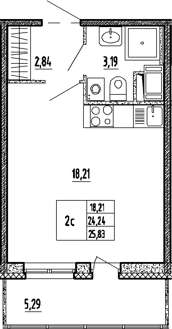 Студия, 24.24 м²– 2