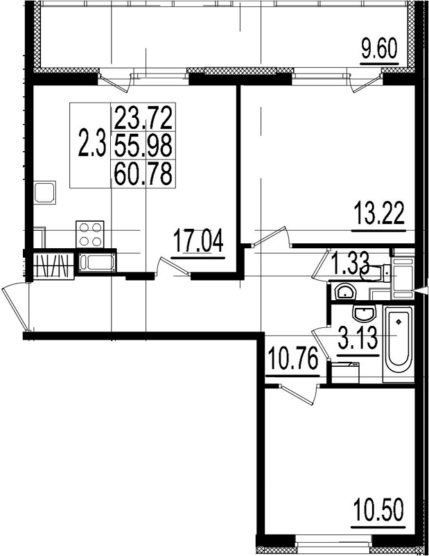 3Е-к.кв, 55.98 м²