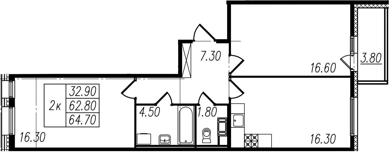 2-комнатная, 62.8 м²– 2