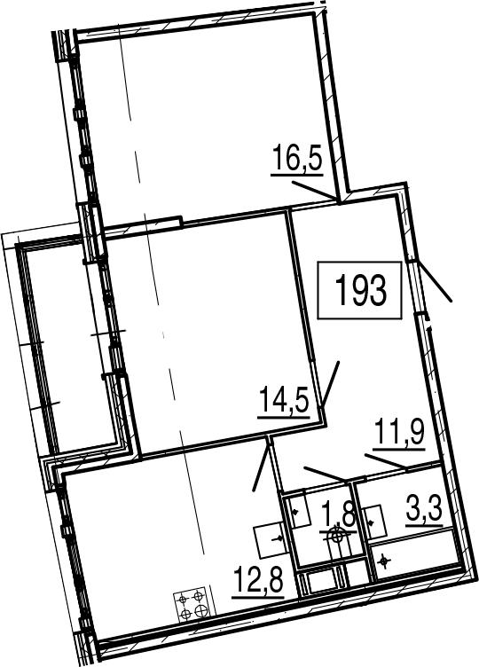 2-к.кв, 62.1 м², 11 этаж