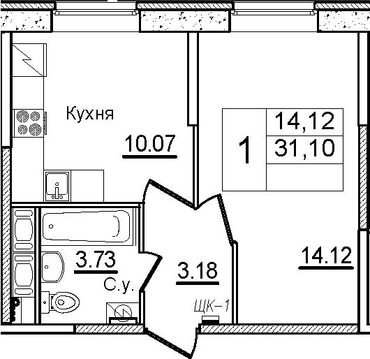 1-к.кв, 31.1 м², 1 этаж