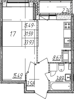 1-комнатная квартира, 31.59 м², 8 этаж – Планировка