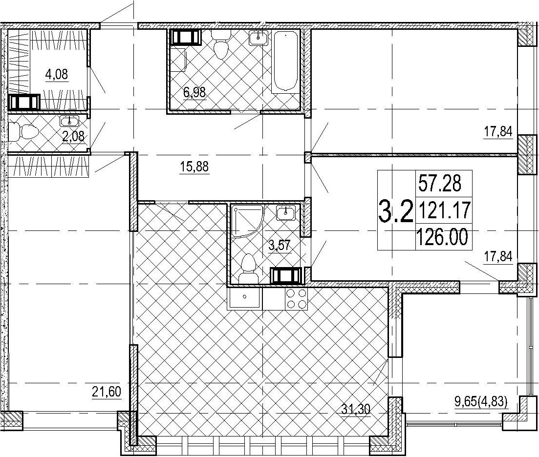 4Е-комнатная, 126 м²– 2
