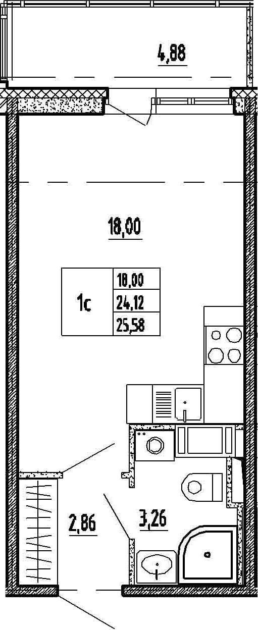 Студия, 24.12 м²– 2