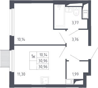 1-к.кв, 30.96 м², 17 этаж