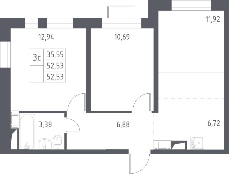 3Е-к.кв, 52.53 м², 13 этаж