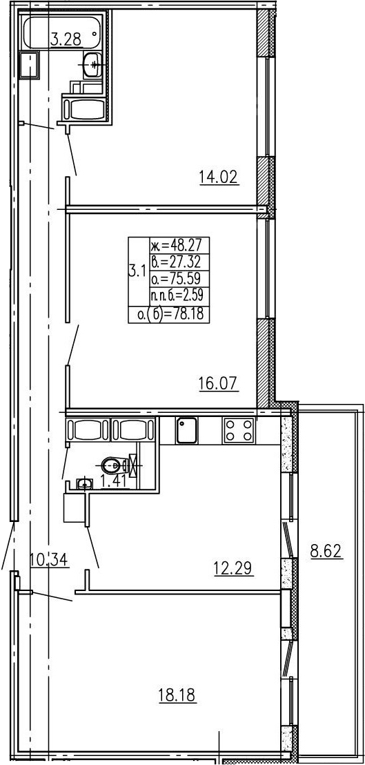 3-к.кв, 84.21 м²
