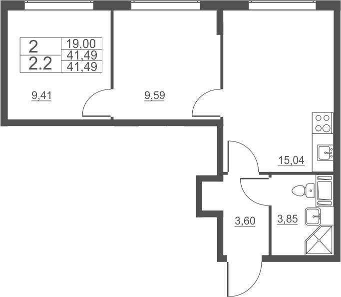 3Е-комнатная, 41.49 м²– 2