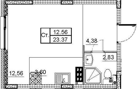 Студия, 23.37 м², 4 этаж