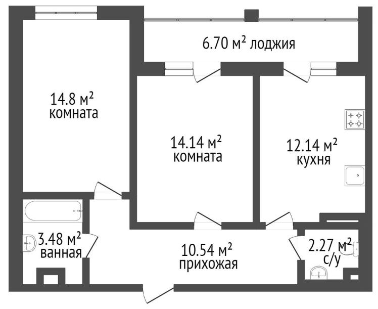 2-к.кв, 63.4 м²