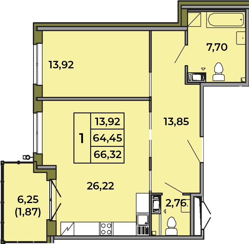 2Е-комнатная, 64.45 м²– 2