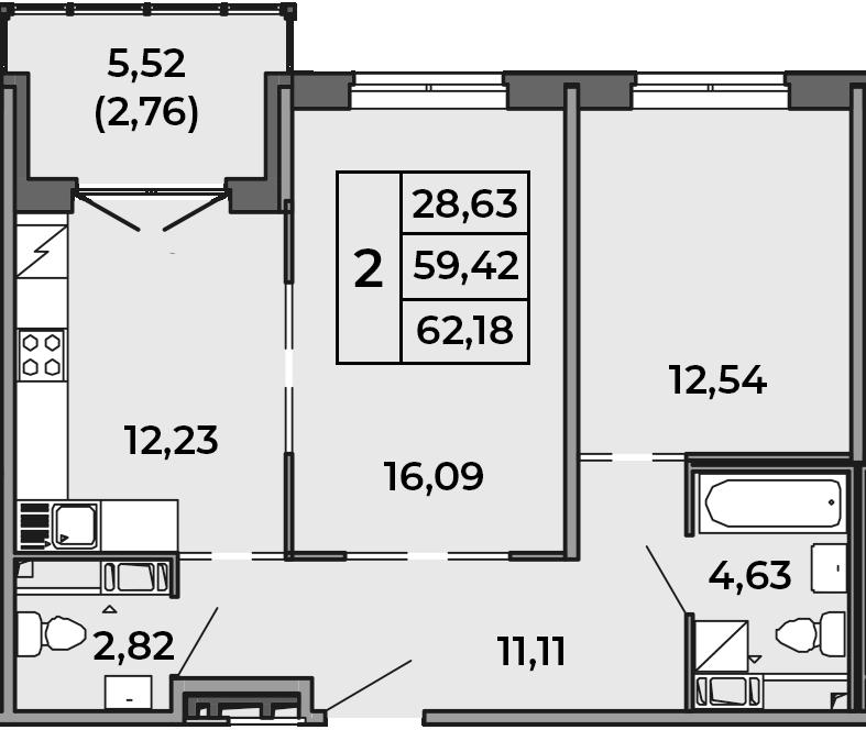 2-к.кв, 62.18 м²
