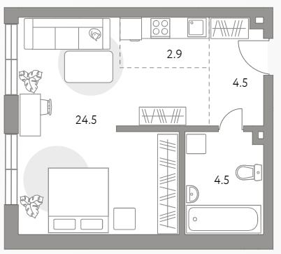 Студия, 36.4 м²