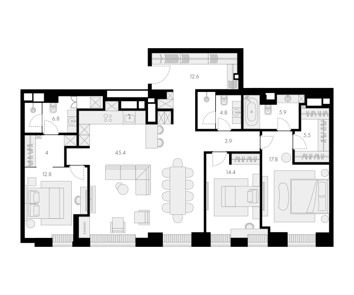 4Е-к.кв, 133.9 м²