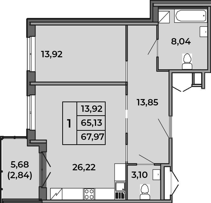 2Е-комнатная, 67.97 м²– 2