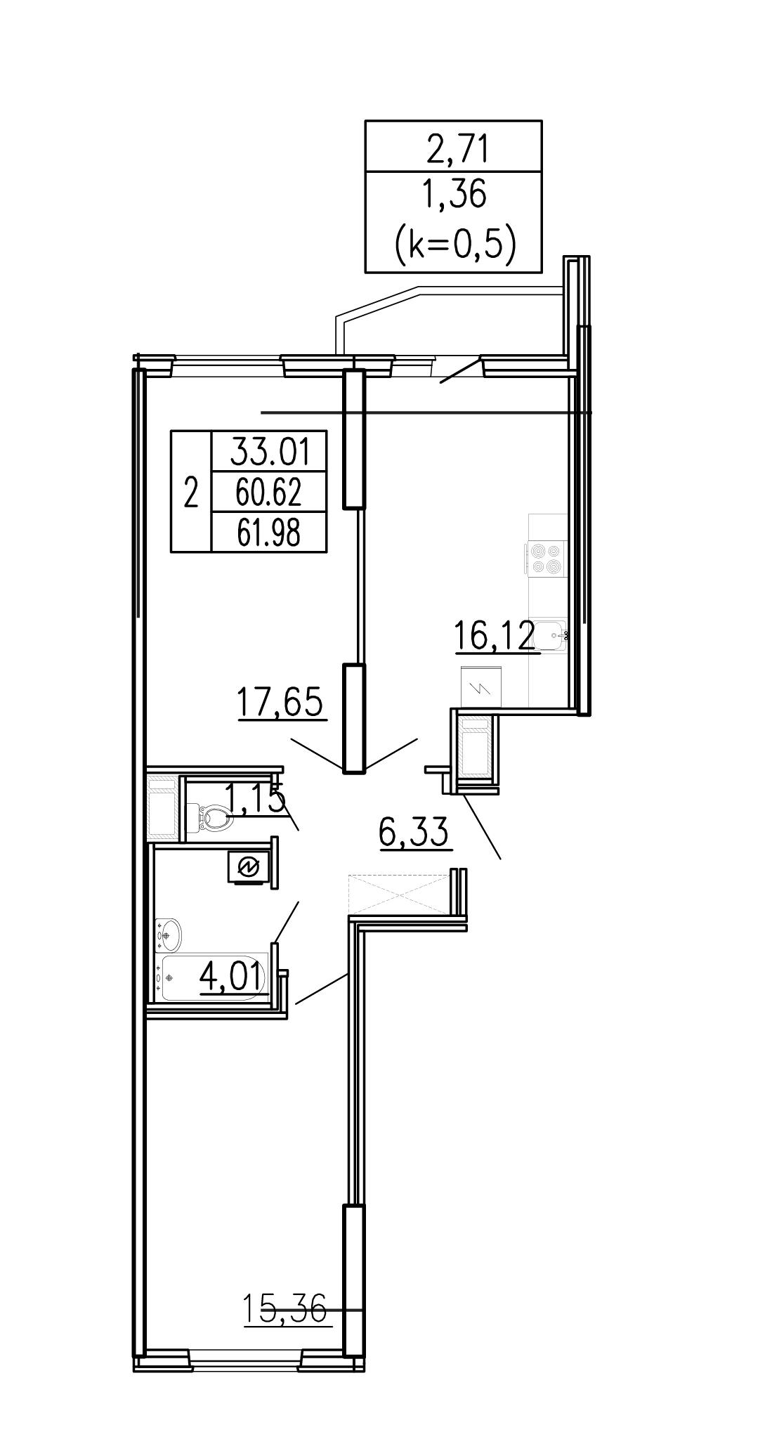 3-к.кв (евро), 63.34 м²