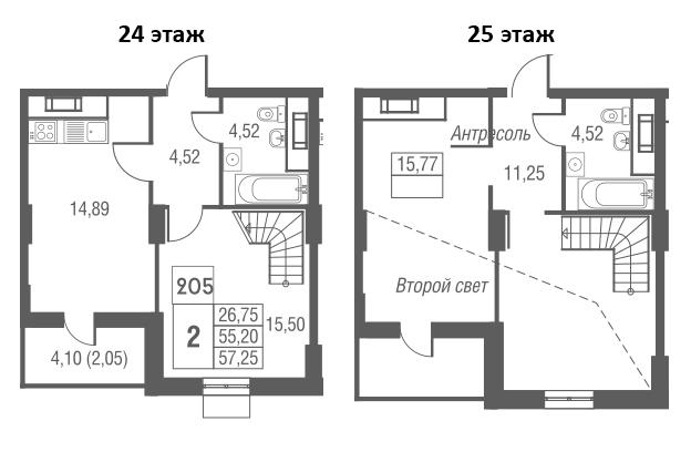2-комнатная, 57.25 м²– 2