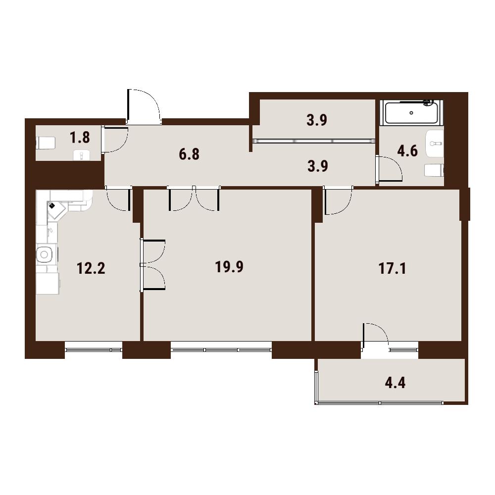 2-к.кв, 74.77 м²