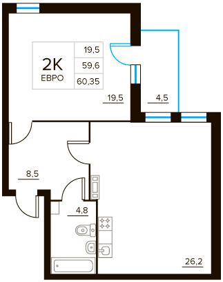 2-к.кв (евро), 63.5 м²
